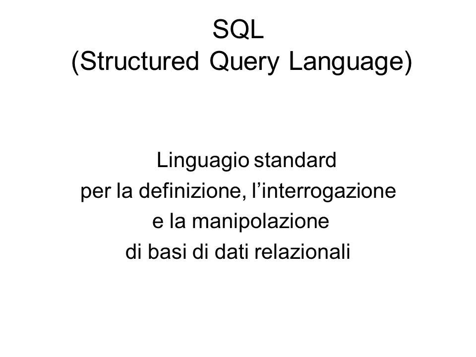 SQL (Structured Query Language) Linguagio standard per la definizione, l'interrogazione e la manipolazione di basi di dati relazionali