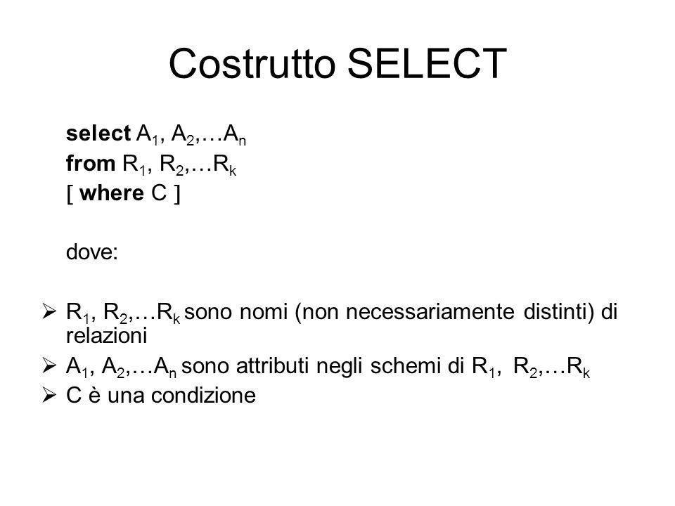 Costrutto SELECT select A 1, A 2,…A n from R 1, R 2,…R k  where C  dove:  R 1, R 2,…R k sono nomi (non necessariamente distinti) di relazioni  A 1