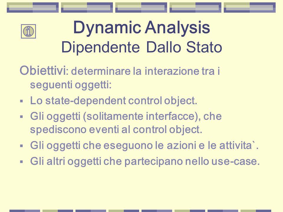Obiettivi : determinare la interazione tra i seguenti oggetti:  Lo state-dependent control object.