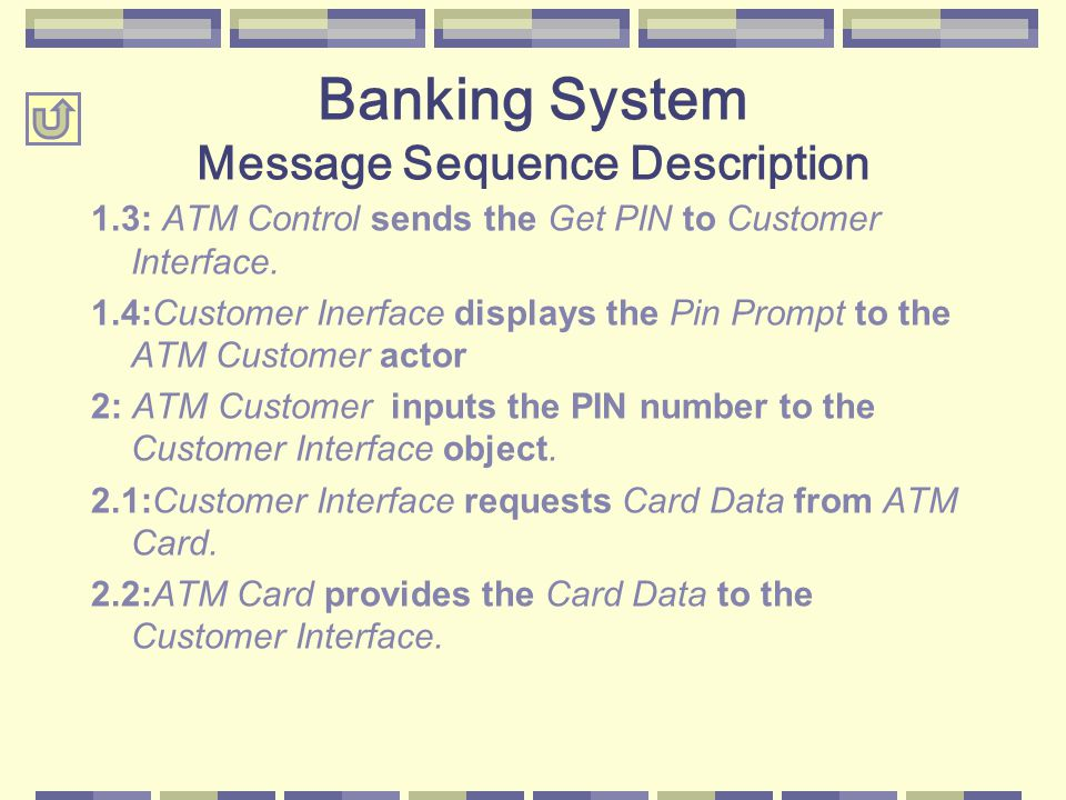 1.3: ATM Control sends the Get PIN to Customer Interface. 1.4:Customer Inerface displays the Pin Prompt to the ATM Customer actor 2: ATM Customer inpu
