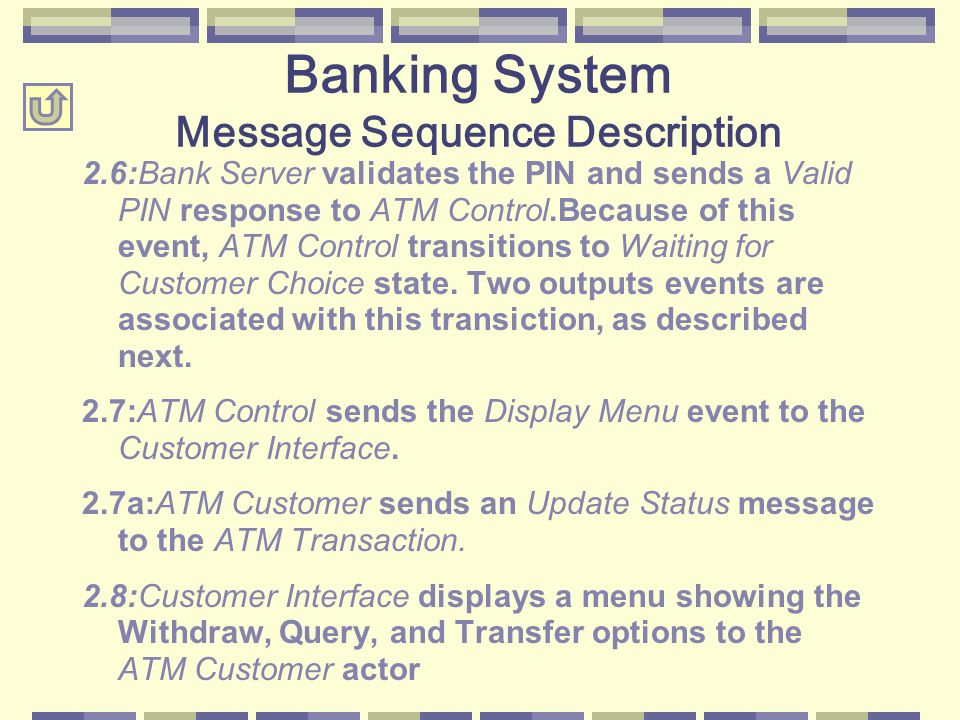 2.6:Bank Server validates the PIN and sends a Valid PIN response to ATM Control.Because of this event, ATM Control transitions to Waiting for Customer