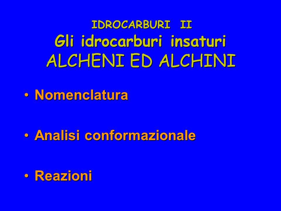 IDROCARBURI II NomenclaturaNomenclatura Analisi conformazionaleAnalisi conformazionale ReazioniReazioni Gli idrocarburi insaturi ALCHENI ED ALCHINI