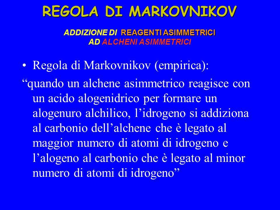 REGOLA DI MARKOVNIKOV REAGENTI ASIMMETRICI REGOLA DI MARKOVNIKOV ADDIZIONE DI REAGENTI ASIMMETRICI AD ALCHENI ASIMMETRICI Regola di Markovnikov (empirica): quando un alchene asimmetrico reagisce con un acido alogenidrico per formare un alogenuro alchilico, l'idrogeno si addiziona al carbonio dell'alchene che è legato al maggior numero di atomi di idrogeno e l'alogeno al carbonio che è legato al minor numero di atomi di idrogeno