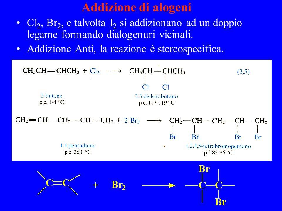 Addizione di alogeni Cl 2, Br 2, e talvolta I 2 si addizionano ad un doppio legame formando dialogenuri vicinali.