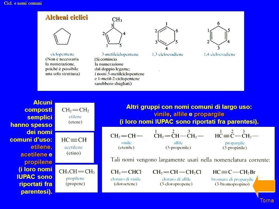 etilene, acetilene propilene Alcuni composti semplici hanno spesso dei nomi comuni d'uso: etilene, acetilene e propilene (i loro nomi IUPAC sono riportati fra parentesi).