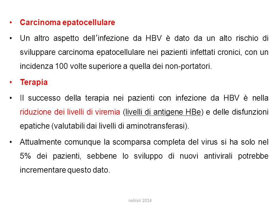 Carcinoma epatocellulare Un altro aspetto dell'infezione da HBV è dato da un alto rischio di sviluppare carcinoma epatocellulare nei pazienti infettati cronici, con un incidenza 100 volte superiore a quella dei non-portatori.