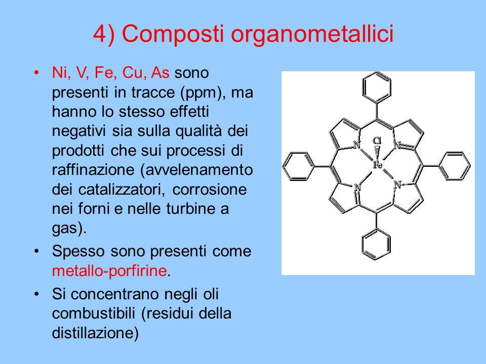 4) Composti organometallici Ni, V, Fe, Cu, As sono presenti in tracce (ppm), ma hanno lo stesso effetti negativi sia sulla qualità dei prodotti che su
