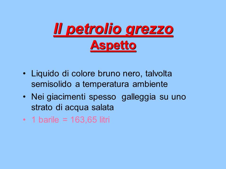Il petrolio grezzo Aspetto Liquido di colore bruno nero, talvolta semisolido a temperatura ambiente Nei giacimenti spesso galleggia su uno strato di a