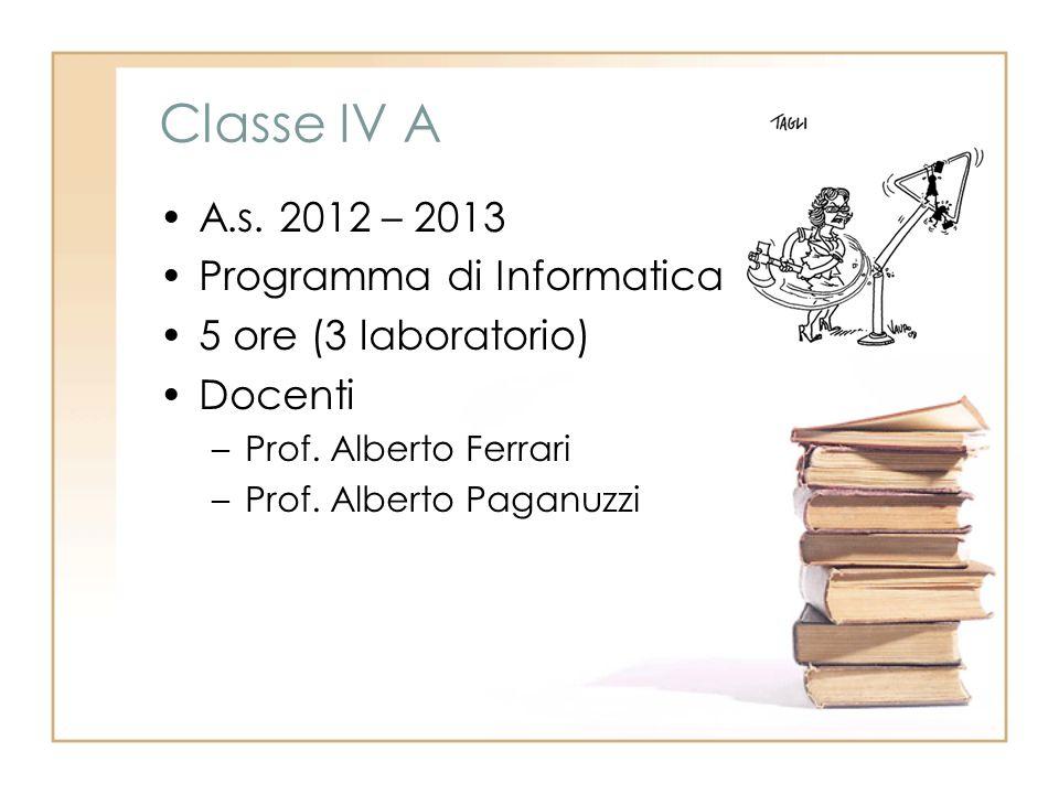 Classe IV A A.s. 2012 – 2013 Programma di Informatica 5 ore (3 laboratorio) Docenti –Prof.