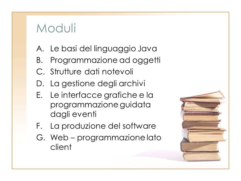 Moduli A.Le basi del linguaggio Java B.Programmazione ad oggetti C.Strutture dati notevoli D.La gestione degli archivi E.Le interfacce grafiche e la programmazione guidata dagli eventi F.La produzione del software G.Web – programmazione lato client