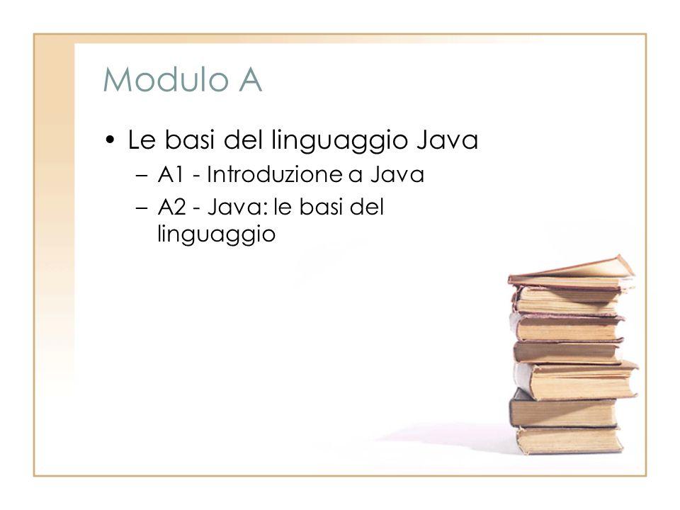 Modulo A Le basi del linguaggio Java –A1 - Introduzione a Java –A2 - Java: le basi del linguaggio