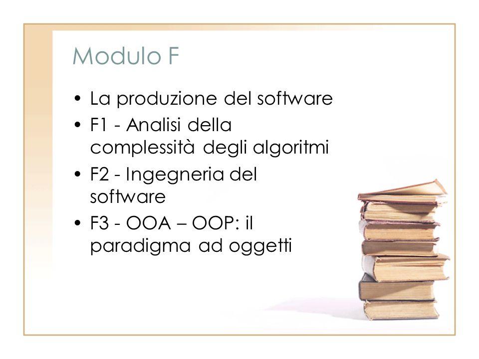 Modulo F La produzione del software F1 - Analisi della complessità degli algoritmi F2 - Ingegneria del software F3 - OOA – OOP: il paradigma ad oggetti