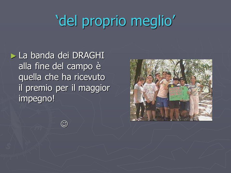 'del proprio meglio' ► La banda dei DRAGHI alla fine del campo è quella che ha ricevuto il premio per il maggior impegno!