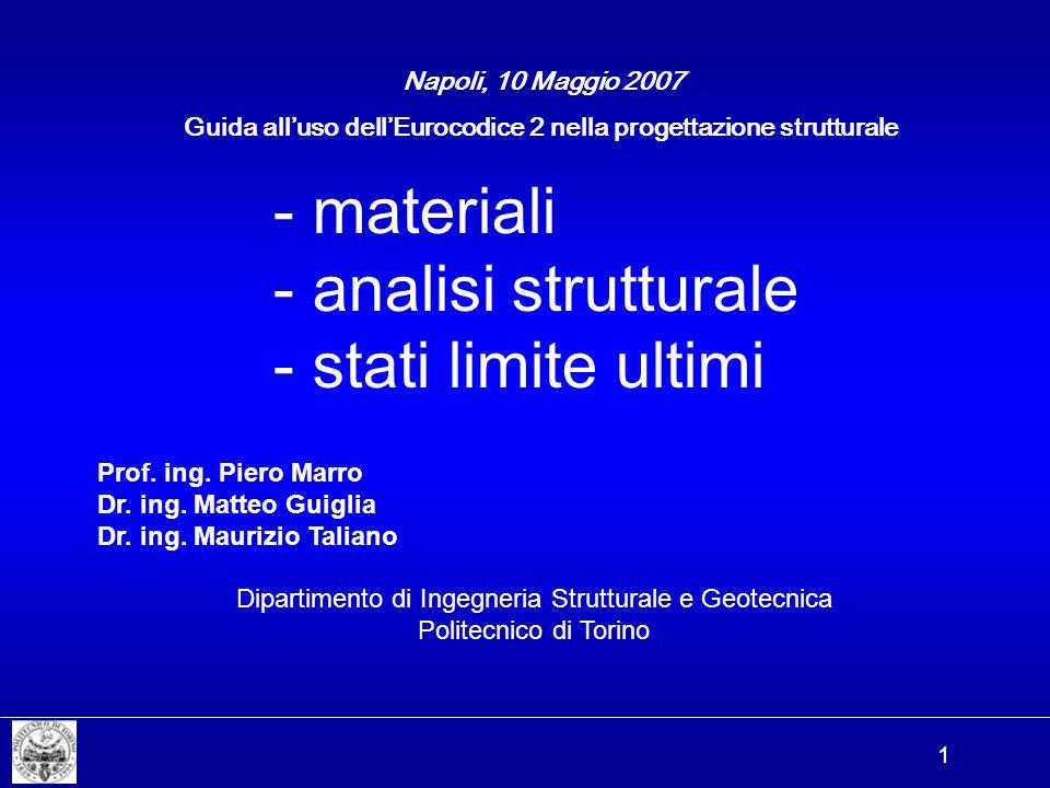 1 - materiali - analisi strutturale - stati limite ultimi Napoli, 10 Maggio 2007 Prof. ing. Piero Marro Dr. ing. Matteo Guiglia Dr. ing. Maurizio Tali