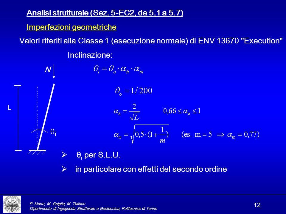 P. Marro, M. Guiglia, M. Taliano Dipartimento di Ingegneria Strutturale e Geotecnica, Politecnico di Torino 12 Analisi strutturale (Sez. 5-EC2, da 5.1