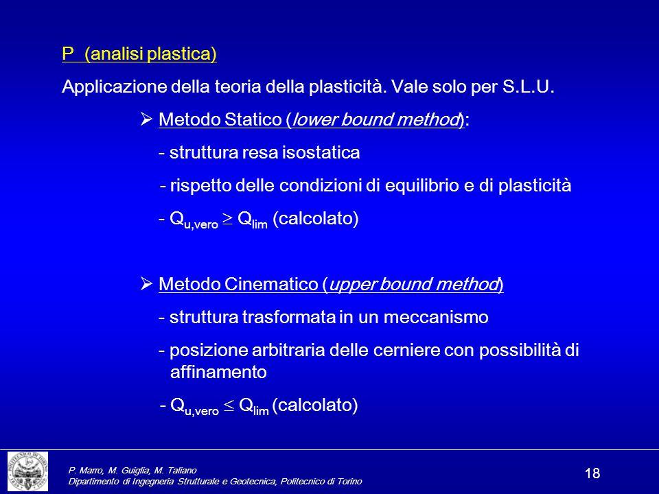 P. Marro, M. Guiglia, M. Taliano Dipartimento di Ingegneria Strutturale e Geotecnica, Politecnico di Torino 18 P (analisi plastica) Applicazione della