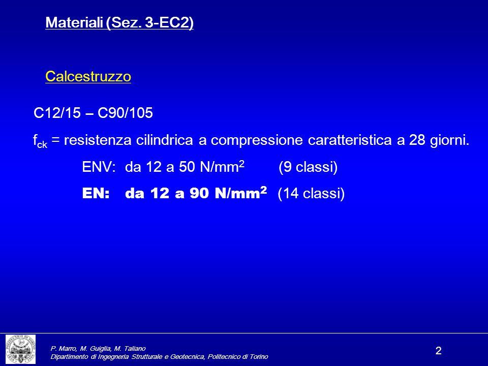 P. Marro, M. Guiglia, M. Taliano Dipartimento di Ingegneria Strutturale e Geotecnica, Politecnico di Torino 2 Materiali (Sez. 3-EC2) Calcestruzzo C12/