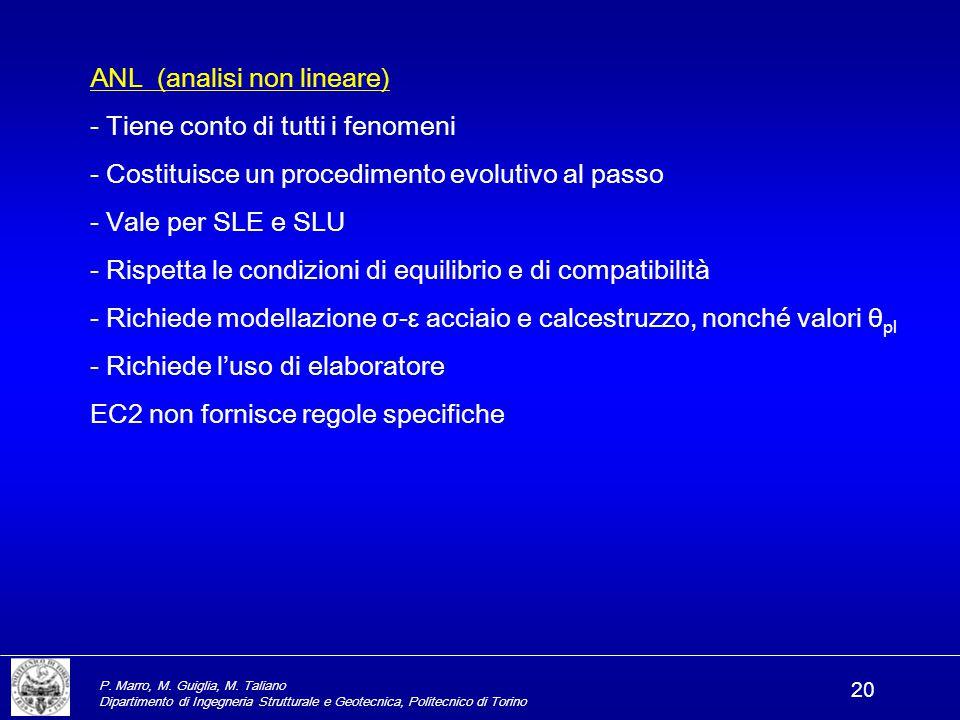 P. Marro, M. Guiglia, M. Taliano Dipartimento di Ingegneria Strutturale e Geotecnica, Politecnico di Torino 20 ANL (analisi non lineare) - Tiene conto