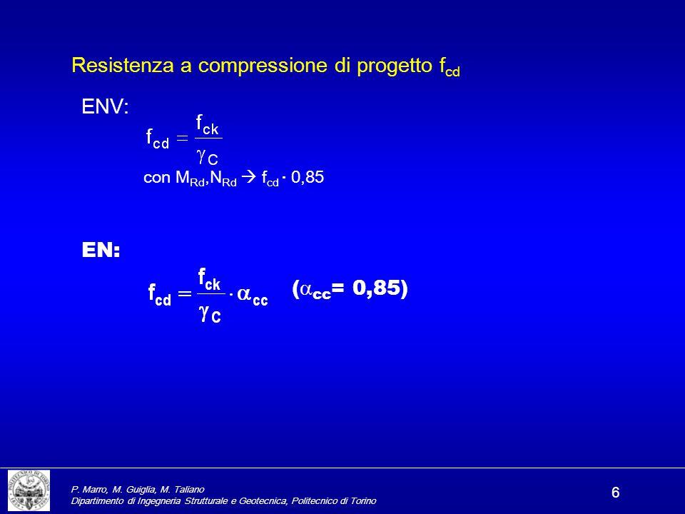 P. Marro, M. Guiglia, M. Taliano Dipartimento di Ingegneria Strutturale e Geotecnica, Politecnico di Torino 6 ENV: con M Rd,N Rd  f cd  0,85 EN: ( 