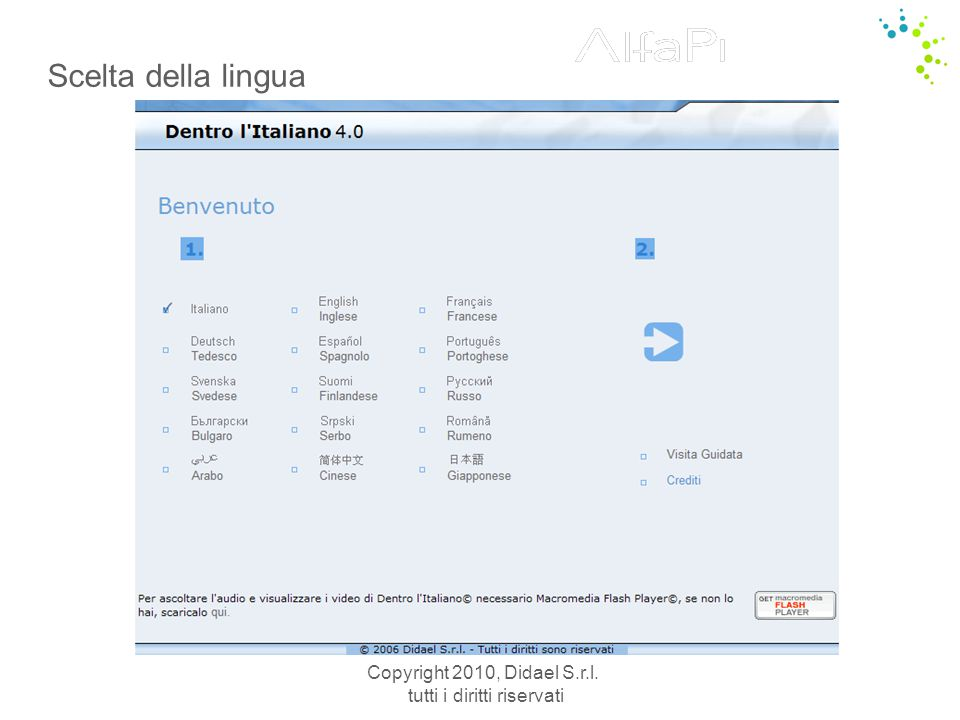 Copyright 2010, Didael S.r.l. tutti i diritti riservati Scelta della lingua