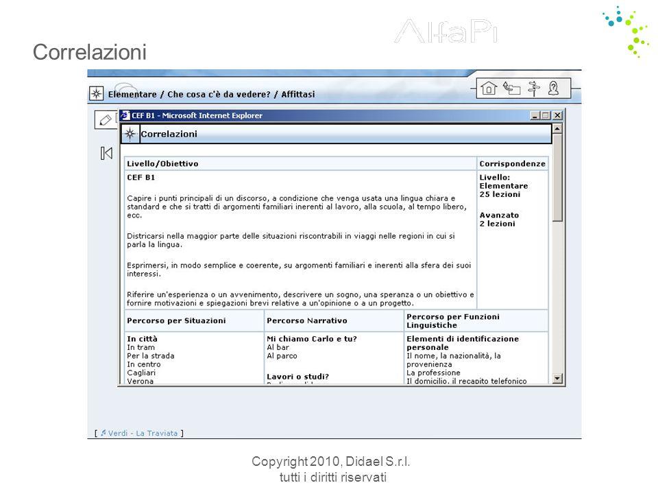 Copyright 2010, Didael S.r.l. tutti i diritti riservati Correlazioni