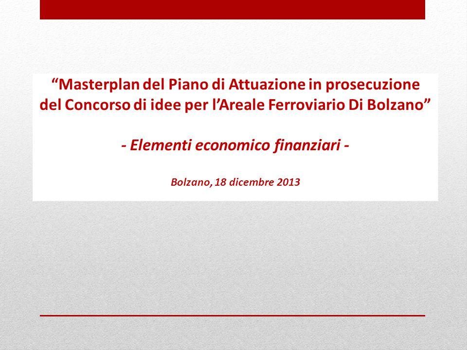 Masterplan del Piano di Attuazione in prosecuzione del Concorso di idee per l'Areale Ferroviario Di Bolzano - Elementi economico finanziari - Bolzano, 18 dicembre 2013