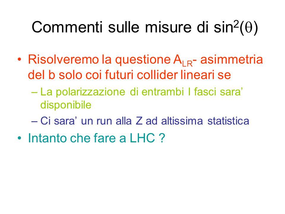 Commenti sulle misure di sin 2 (  ) Risolveremo la questione A LR - asimmetria del b solo coi futuri collider lineari se –La polarizzazione di entrambi I fasci sara' disponibile –Ci sara' un run alla Z ad altissima statistica Intanto che fare a LHC