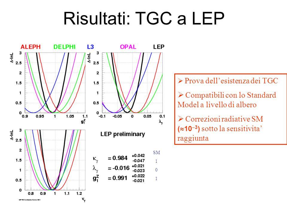 Risultati: TGC a LEP  Prova dell'esistenza dei TGC  Compatibili con lo Standard Model a livello di albero  Correzioni radiative SM (  10  3 ) sotto la sensitivita' raggiunta SM 1 0 1