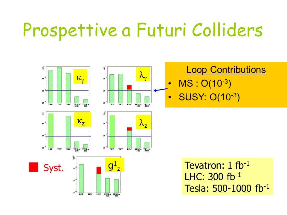 Prospettive a Futuri Colliders Loop Contributions MS : O(10 -3 ) SUSY: O(10 -3 ) Tevatron: 1 fb -1 LHC: 300 fb -1 Tesla: 500-1000 fb -1 Syst.
