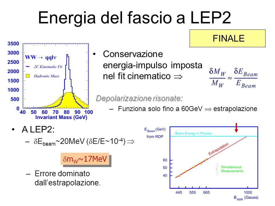 Energia del fascio a LEP2 A LEP2: –  E beam ~20MeV (  E/E~10 -4 )   m W ~17MeV –Errore dominato dall'estrapolazione.