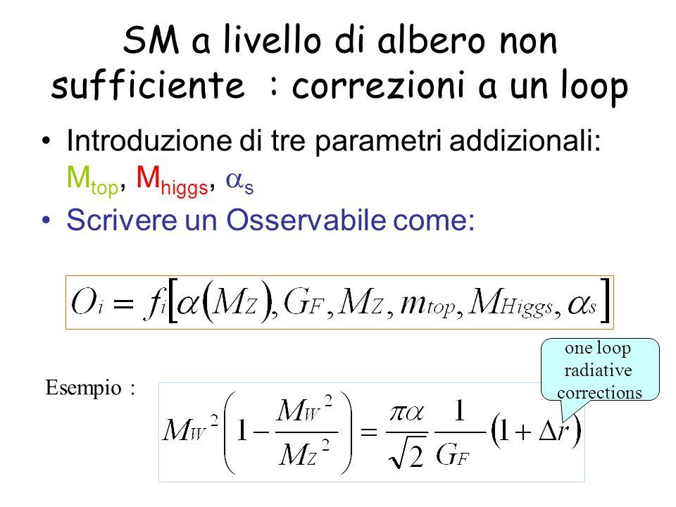 SM a livello di albero non sufficiente : correzioni a un loop Introduzione di tre parametri addizionali: M top, M higgs,  s Scrivere un Osservabile come: Esempio : one loop radiative corrections