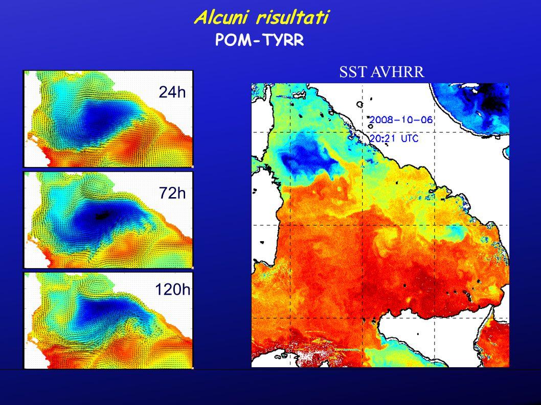 24h 72h 120h SST AVHRR Alcuni risultati POM-TYRR
