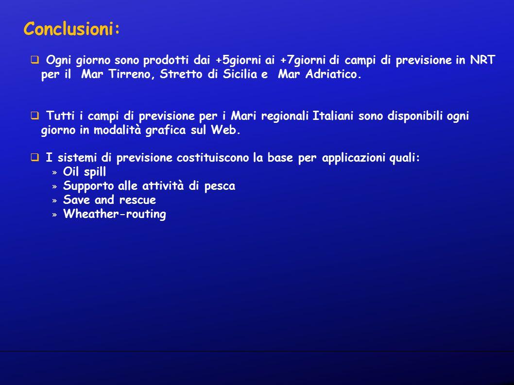 Conclusioni:  Ogni giorno sono prodotti dai +5giorni ai +7giorni di campi di previsione in NRT per il Mar Tirreno, Stretto di Sicilia e Mar Adriatico.