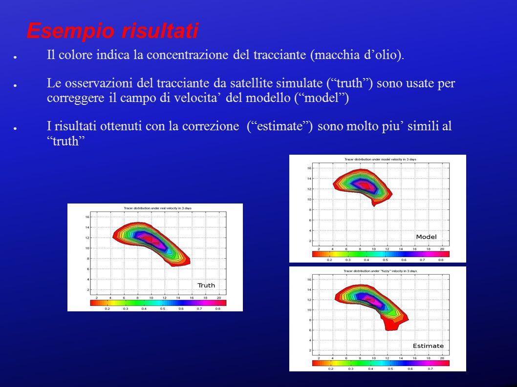 Esempio risultati ● Il colore indica la concentrazione del tracciante (macchia d'olio).