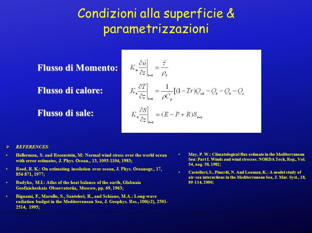 Condizioni alla superficie & parametrizzazioni Flusso di Momento: Flusso di calore: Flusso di sale:  REFERENCES: Hellerman, S.