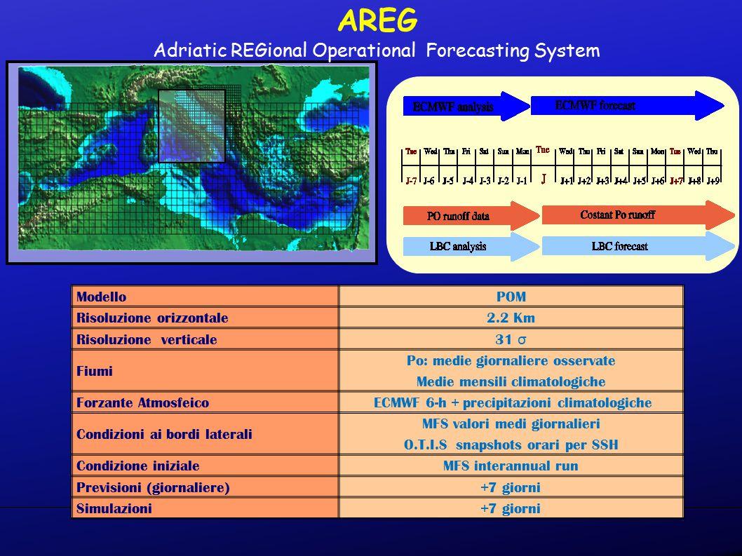 ModelloPOM Risoluzione orizzontale2.2 Km Risoluzione verticale 31 σ31 σ Fiumi Po: medie giornaliere osservate Medie mensili climatologiche Forzante Atmosfeico ECMWF 6-h + precipitazioni climatologiche Condizioni ai bordi laterali MFS valori medi giornalieri O.T.I.S snapshots orari per SSH Condizione inizialeMFS interannual run Previsioni (giornaliere)+7 giorni Simulazioni+7 giorni AREG Adriatic REGional Operational Forecasting System
