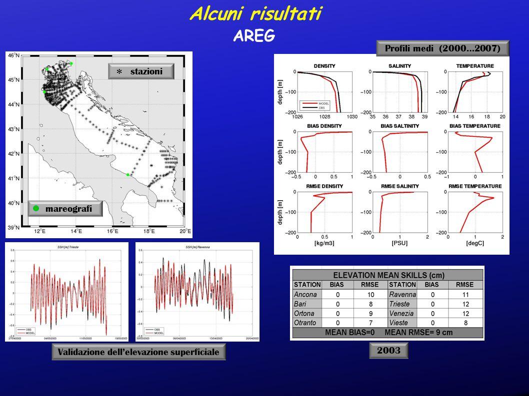 Alcuni risultati AREG Profili medi (2000…2007) mareografi stazioni * Validazione dell'elevazione superficiale 2003
