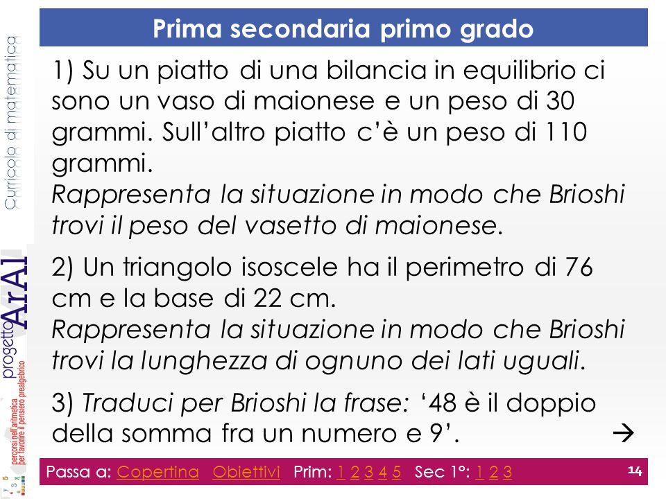 Prima secondaria primo grado Passa a: Copertina Obiettivi Prim: 1 2 3 4 5 Sec 1°: 1 2 3CopertinaObiettivi12345123 14 1) Su un piatto di una bilancia in equilibrio ci sono un vaso di maionese e un peso di 30 grammi.