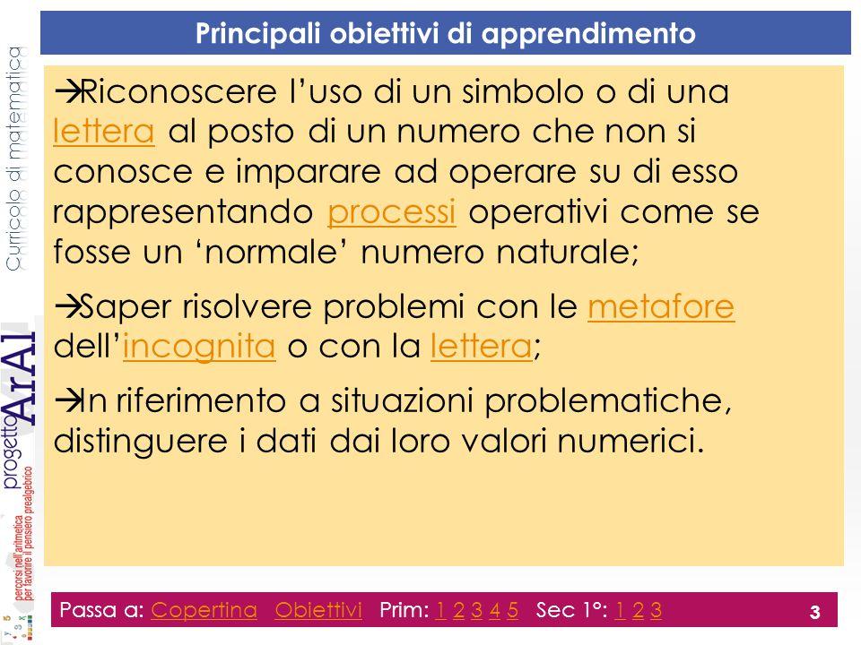 Principali obiettivi di apprendimento  Riconoscere l'uso di un simbolo o di una lettera al posto di un numero che non si conosce e imparare ad operar