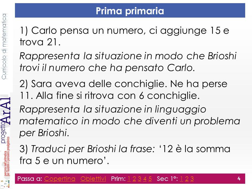 Prima primaria 1) Carlo pensa un numero, ci aggiunge 15 e trova 21. Rappresenta la situazione in modo che Brioshi trovi il numero che ha pensato Carlo