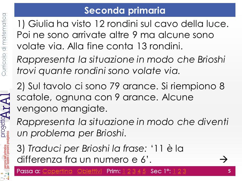 Seconda primaria 1) Giulia ha visto 12 rondini sul cavo della luce.