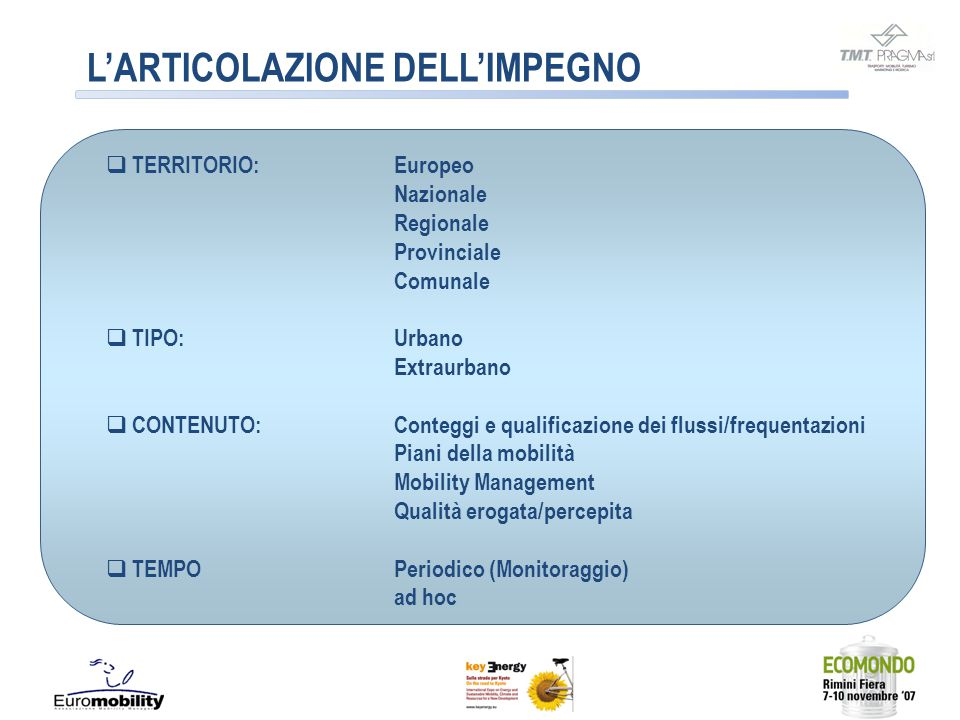 LA RICERCA EUROPEA 1991 – DRIVE - Monitoring attitude towards road transport automation 1994 - IMPACT - Social Influence, Resulting Effects 1996 - CARPLUS - Integration of car-pooling among Union Cities 1996 - Switching to Public Transport - Progetto UITP (Unione Internazionale Società di Trasporto Pubblico) 1996 - IN.TR.A.M.UR.O.S.