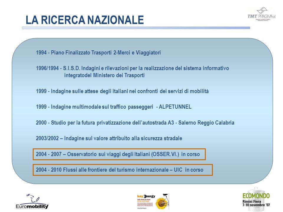 LA RICERCA NAZIONALE 1994 - Piano Finalizzato Trasporti 2-Merci e Viaggiatori 1996/1994 - S.I.S.D. Indagini e rilevazioni per la realizzazione del sis