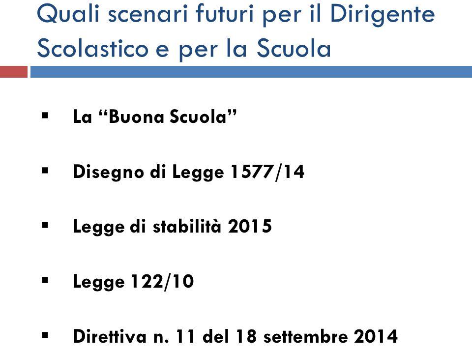 """Quali scenari futuri per il Dirigente Scolastico e per la Scuola  La """"Buona Scuola""""  Disegno di Legge 1577/14  Legge di stabilità 2015  Legge 122/"""