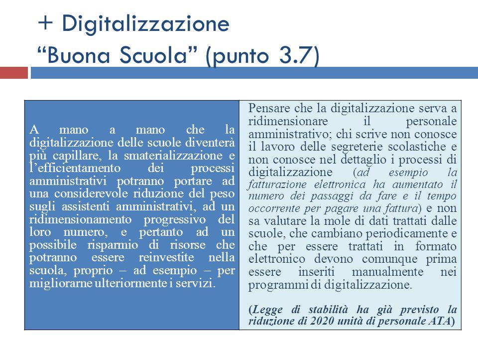 """+ Digitalizzazione """"Buona Scuola"""" (punto 3.7) A mano a mano che la digitalizzazione delle scuole diventerà più capillare, la smaterializzazione e l'ef"""