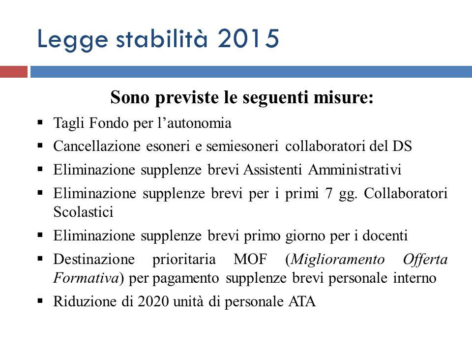 Legge stabilità 2015 Sono previste le seguenti misure:  Tagli Fondo per l'autonomia  Cancellazione esoneri e semiesoneri collaboratori del DS  Elim