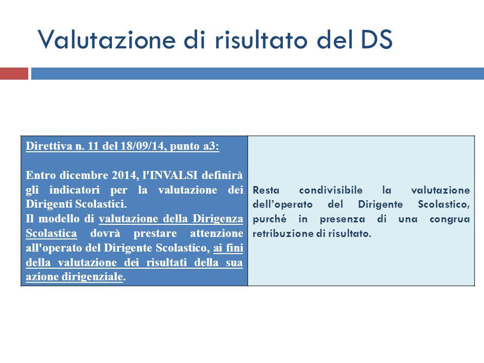Valutazione di risultato del DS Direttiva n. 11 del 18/09/14, punto a3: Entro dicembre 2014, l'INVALSI definirà gli indicatori per la valutazione dei