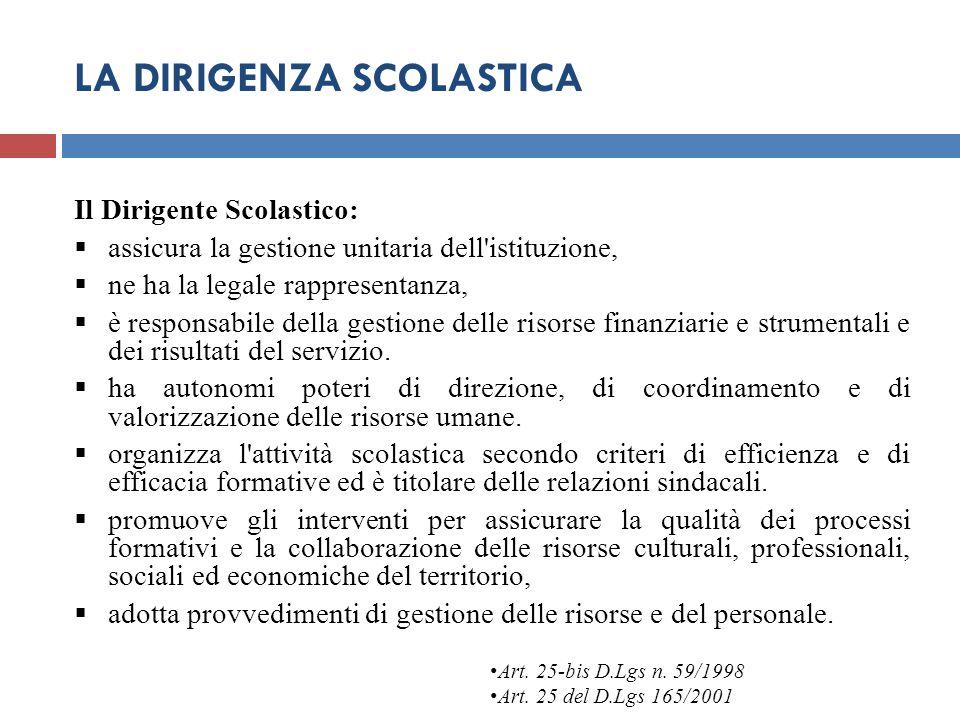 LA DIRIGENZA SCOLASTICA Il Dirigente Scolastico:  assicura la gestione unitaria dell'istituzione,  ne ha la legale rappresentanza,  è responsabile