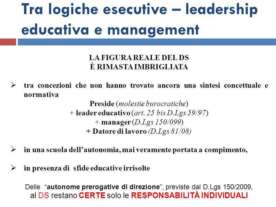Tra logiche esecutive – leadership educativa e management LA FIGURA REALE DEL DS È RIMASTA IMBRIGLIATA  tra concezioni che non hanno trovato ancora u