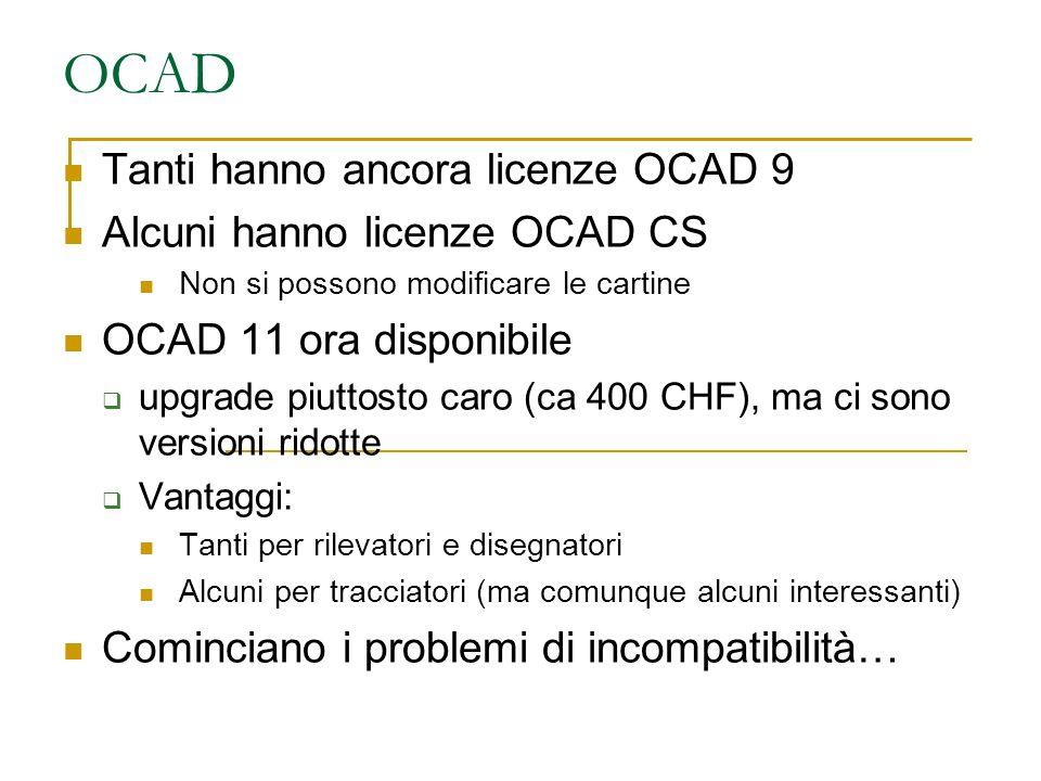 OCAD Tanti hanno ancora licenze OCAD 9 Alcuni hanno licenze OCAD CS Non si possono modificare le cartine OCAD 11 ora disponibile  upgrade piuttosto caro (ca 400 CHF), ma ci sono versioni ridotte  Vantaggi: Tanti per rilevatori e disegnatori Alcuni per tracciatori (ma comunque alcuni interessanti) Cominciano i problemi di incompatibilità…